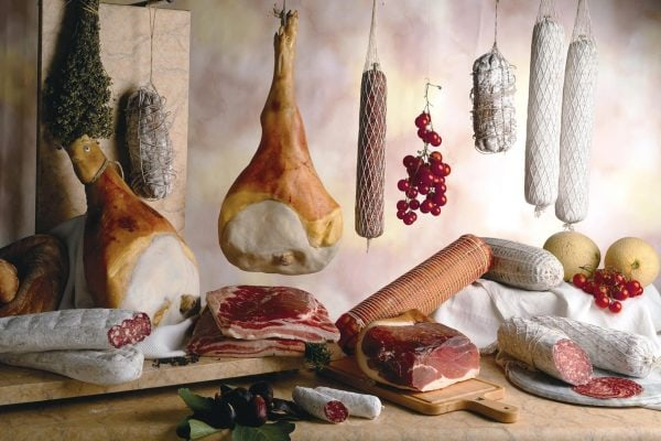 various salami spread out forcemeat and whole anatomical