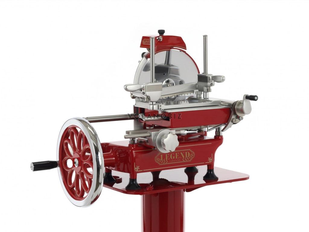 Flywheel meat slicer in red