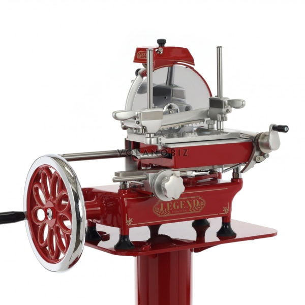 Flywheel meat slicer in red